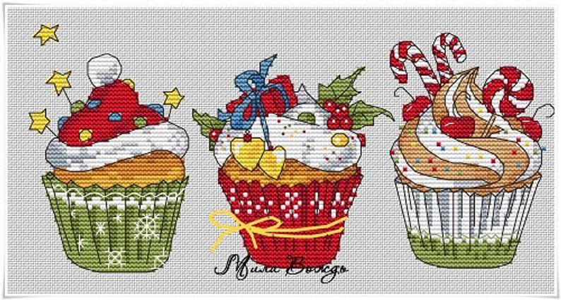 Christmas Cupcake Cross Stitch Pattern