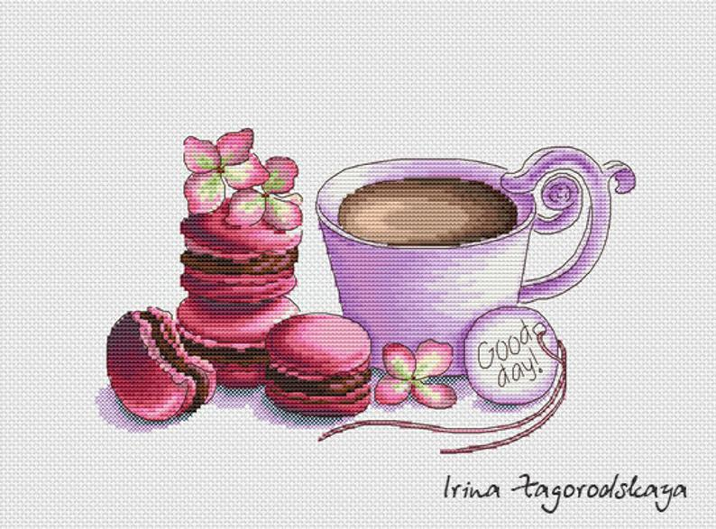Coffee & Macarons Cross Stitch Pattern