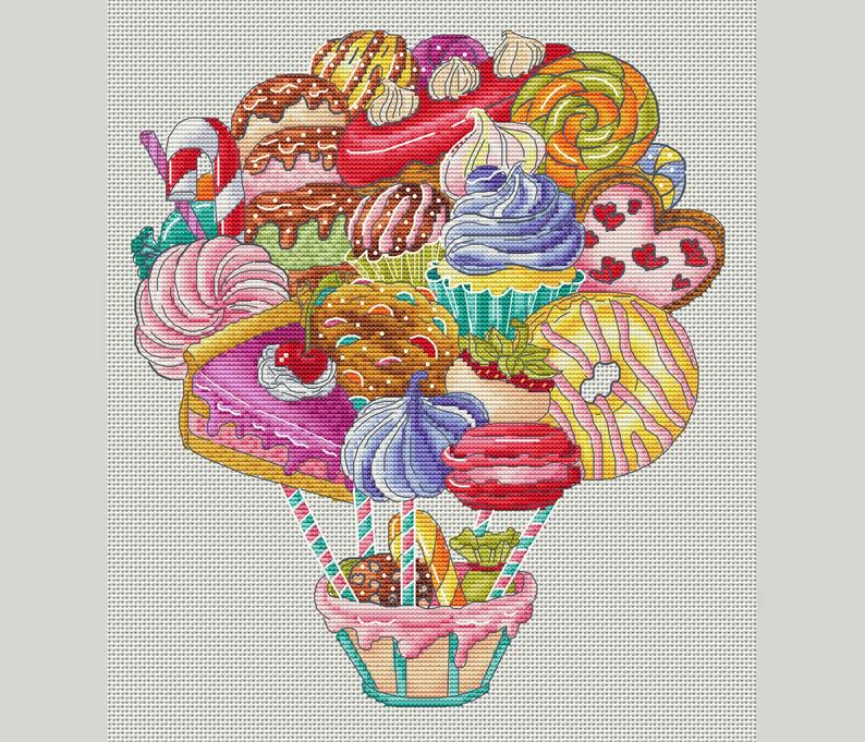 Floating Treats Cross Stitch Pattern