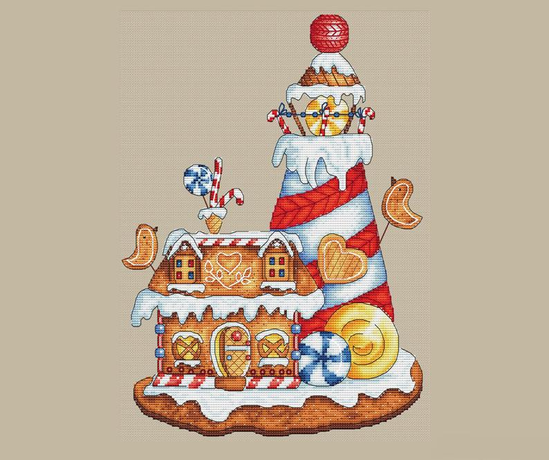Gingerbread Lighthouse Cross Stitch Pattern