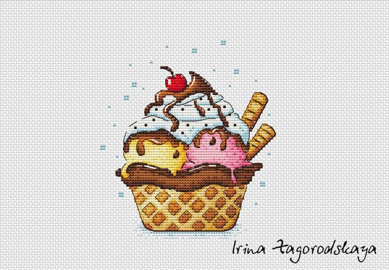 Ice Cream Cupcake Cross Stitch Pattern