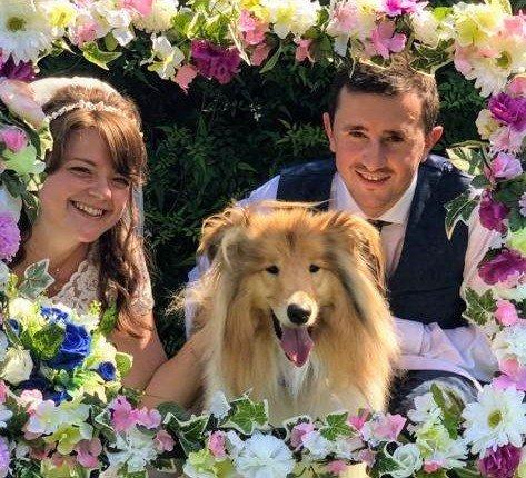 Justine & Scott on their wedding day