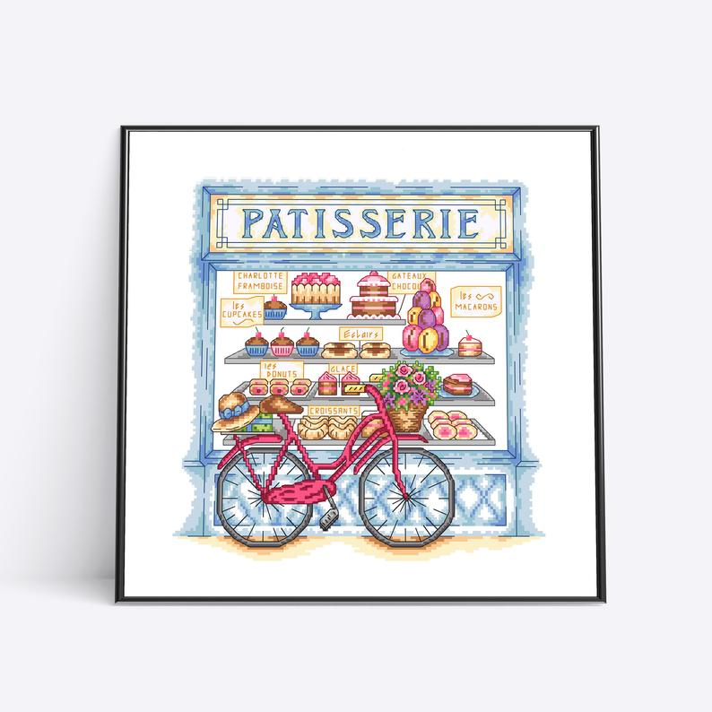 Patisserie Shop Cross Stitch Pattern