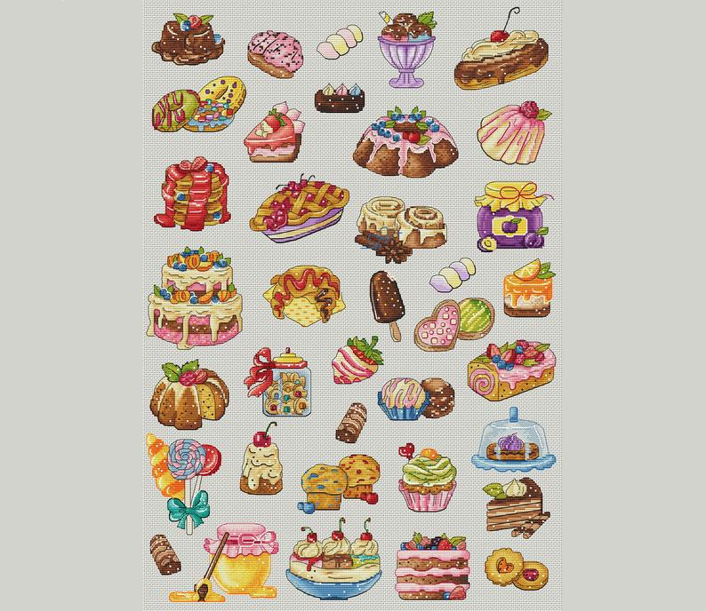 Sweets & Cakes Cross Stitch Pattern