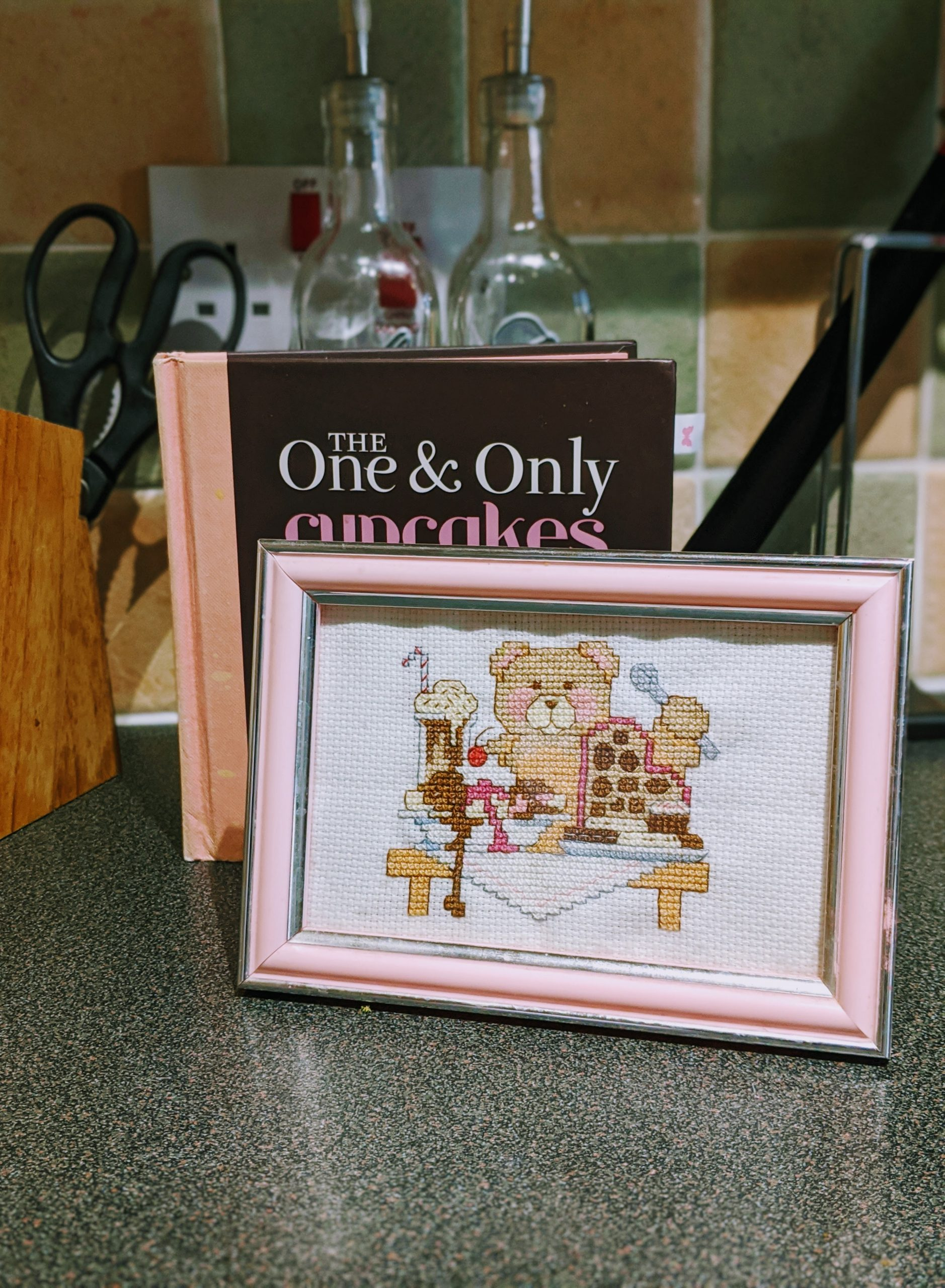 Teddy Bear Eating Dessert Cross Stitch