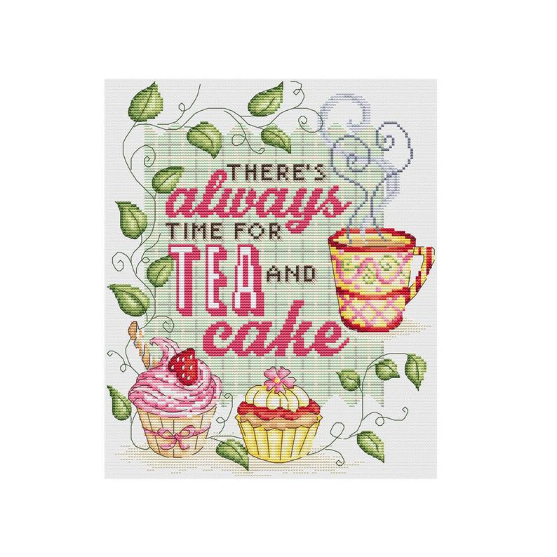 There's Always Time For Tea and Cake Cross Stitch Pattern