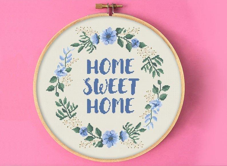 Blue Wreath Home Sweet Home Cross Stitch Pattern
