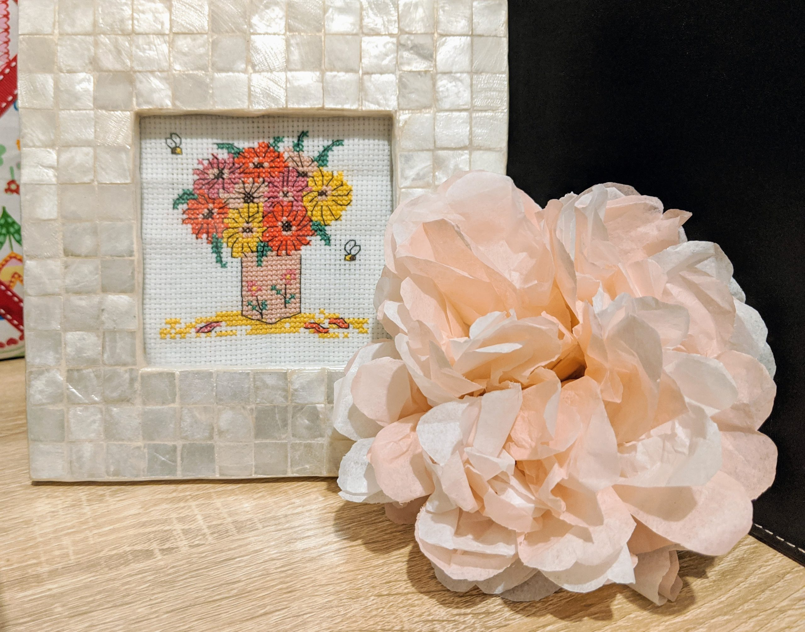 Colourful vase of flowers cross stitch