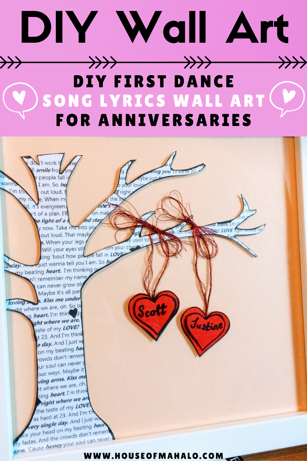 DIY First Dance Song Lyrics Wall Art