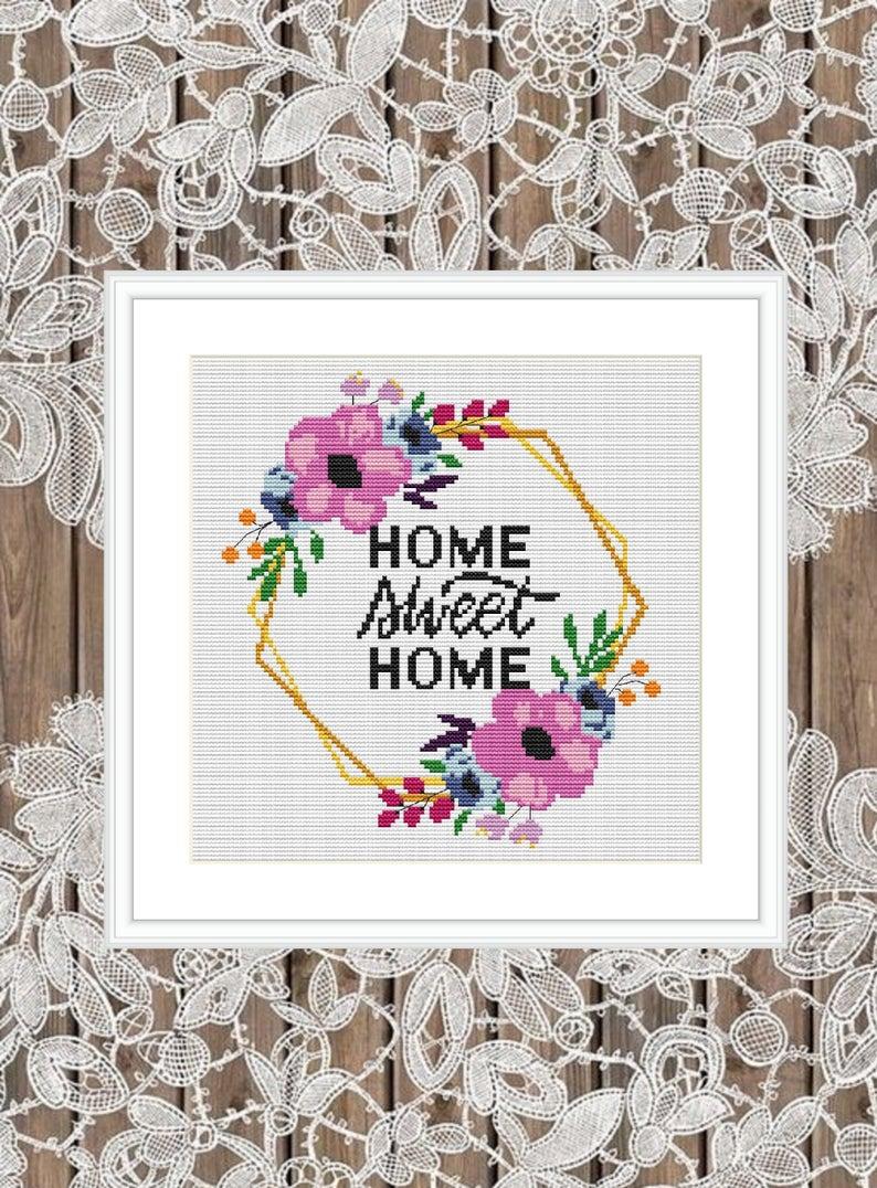 Flower Wreath - Home Sweet Home Cross Stitch Pattern