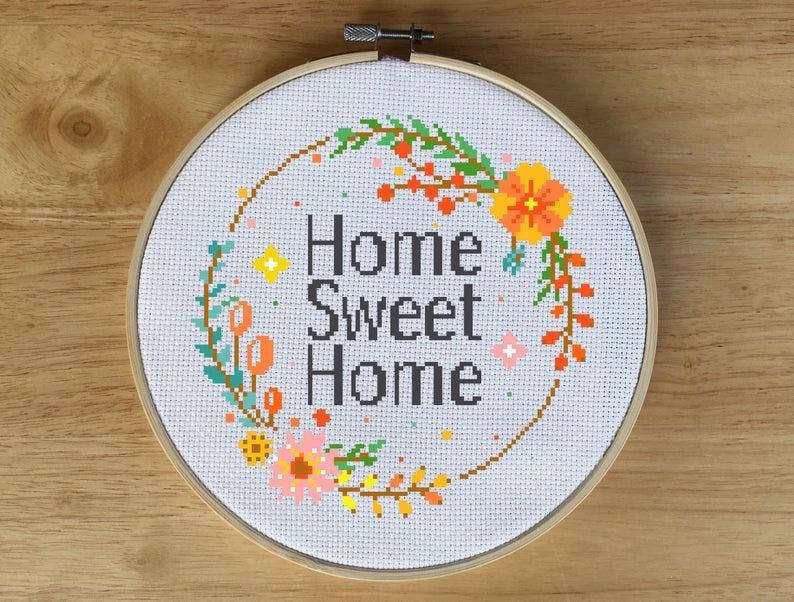 Orange Wreath Home Sweet Home Cross Stitch Pattern