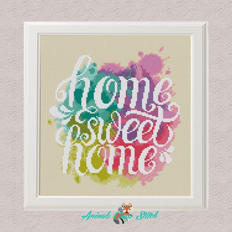 Paint Splash Home Sweet Home Cross Stitch Pattern