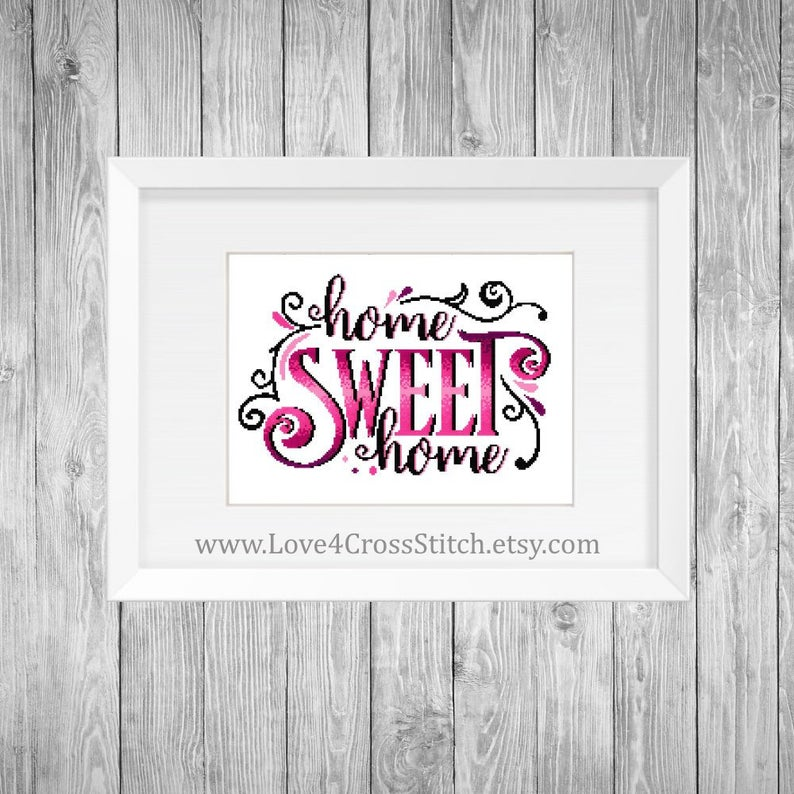 Pink Charming Home Sweet Home Cross Stitch Pattern