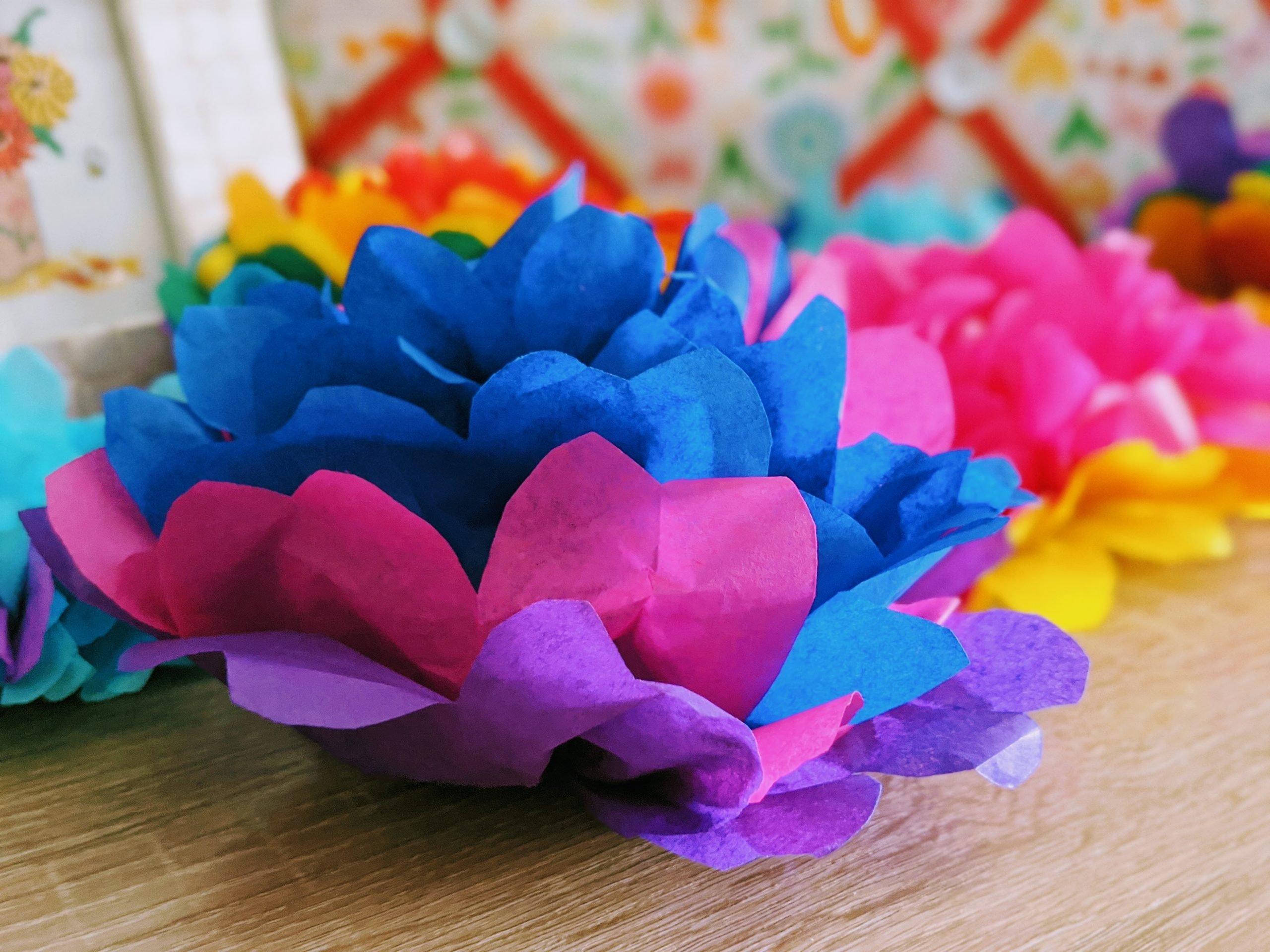 Pink, Purple & Blue Tissue Paper Pom Poms