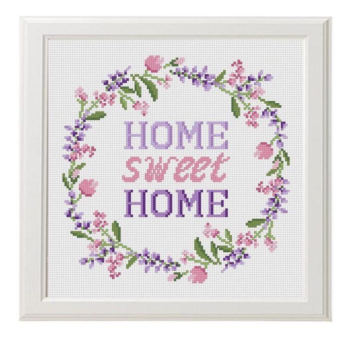 Pink & Purple Flower Wreath - Home Sweet Home Cross Stitch Pattern