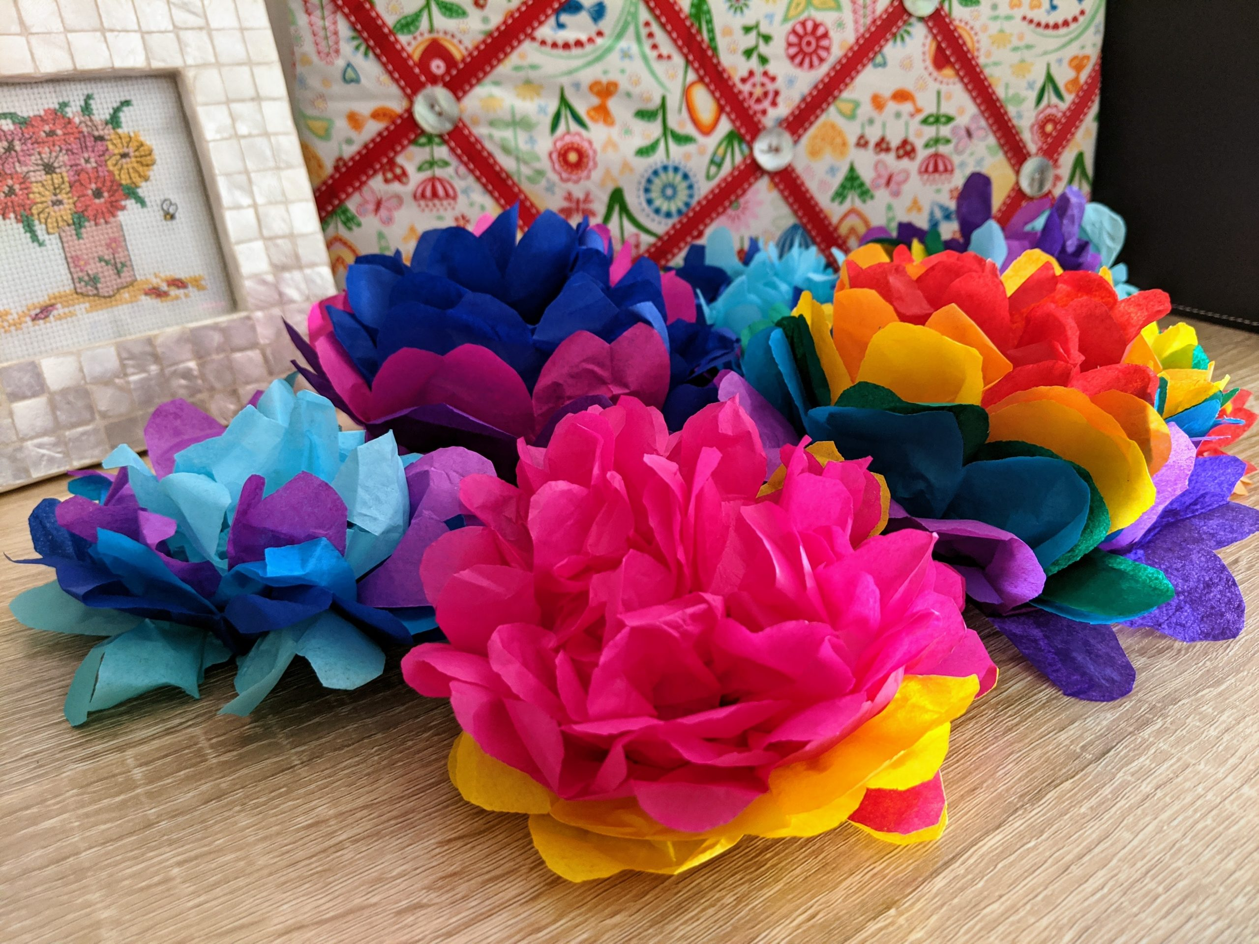 Pink & Yellow Tissue Paper Pom Poms
