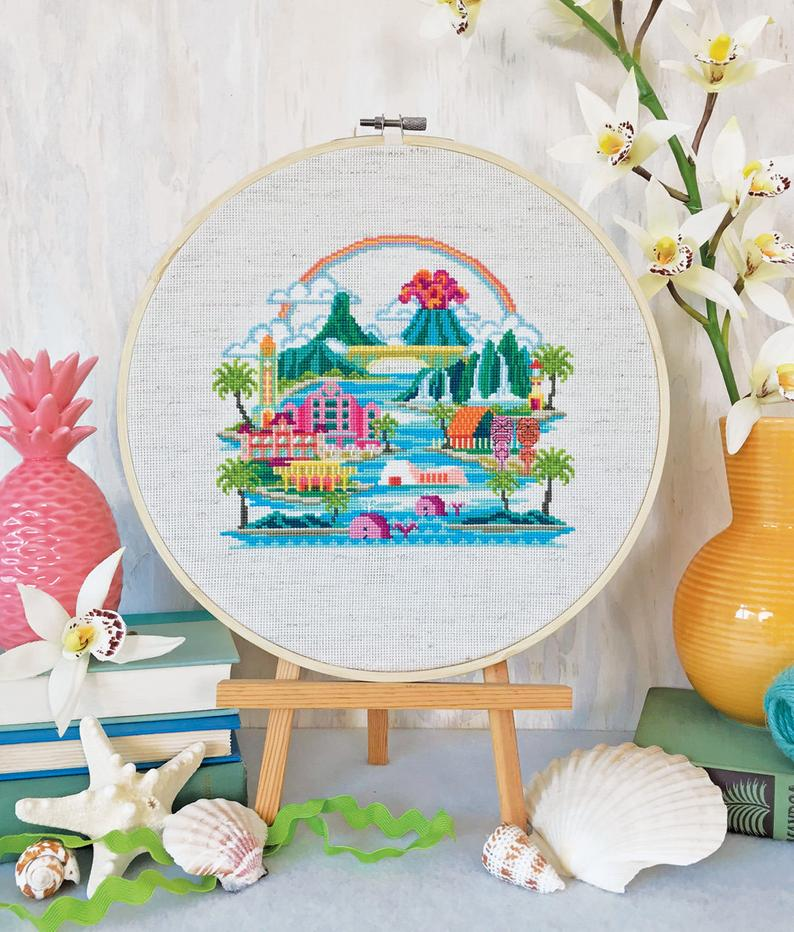 Pretty Little Hawaii Cross Stitch Pattern