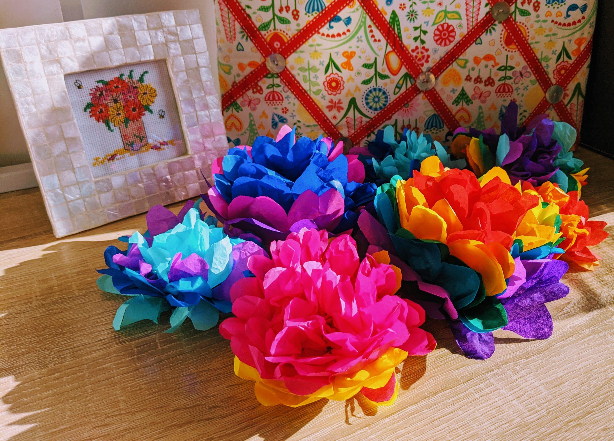 Rainbow Coloured Tissue Paper Pom Poms