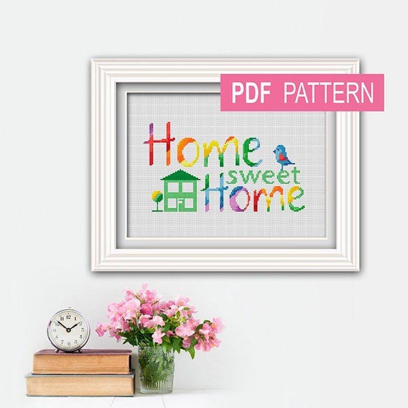 Rainbow Home Sweet Home Cross Stitch Pattern