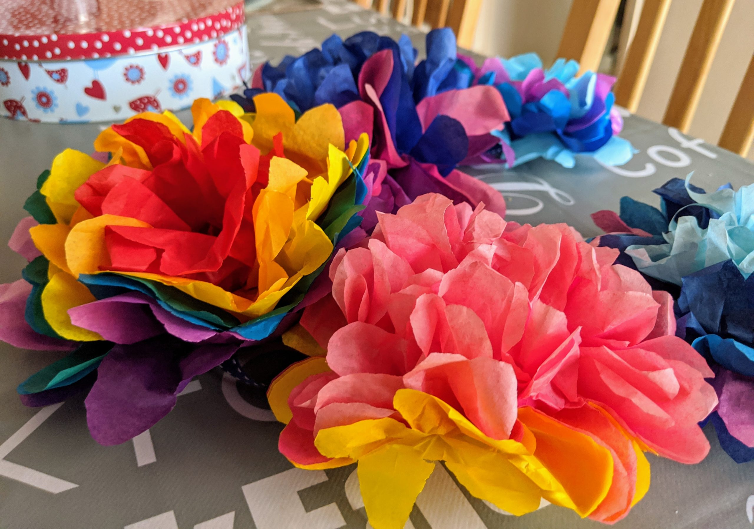 Rainbow Tissue Paper Pom Poms