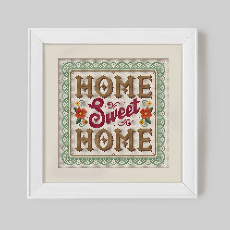 Vintage Home Sweet Home Cross Stitch Pattern