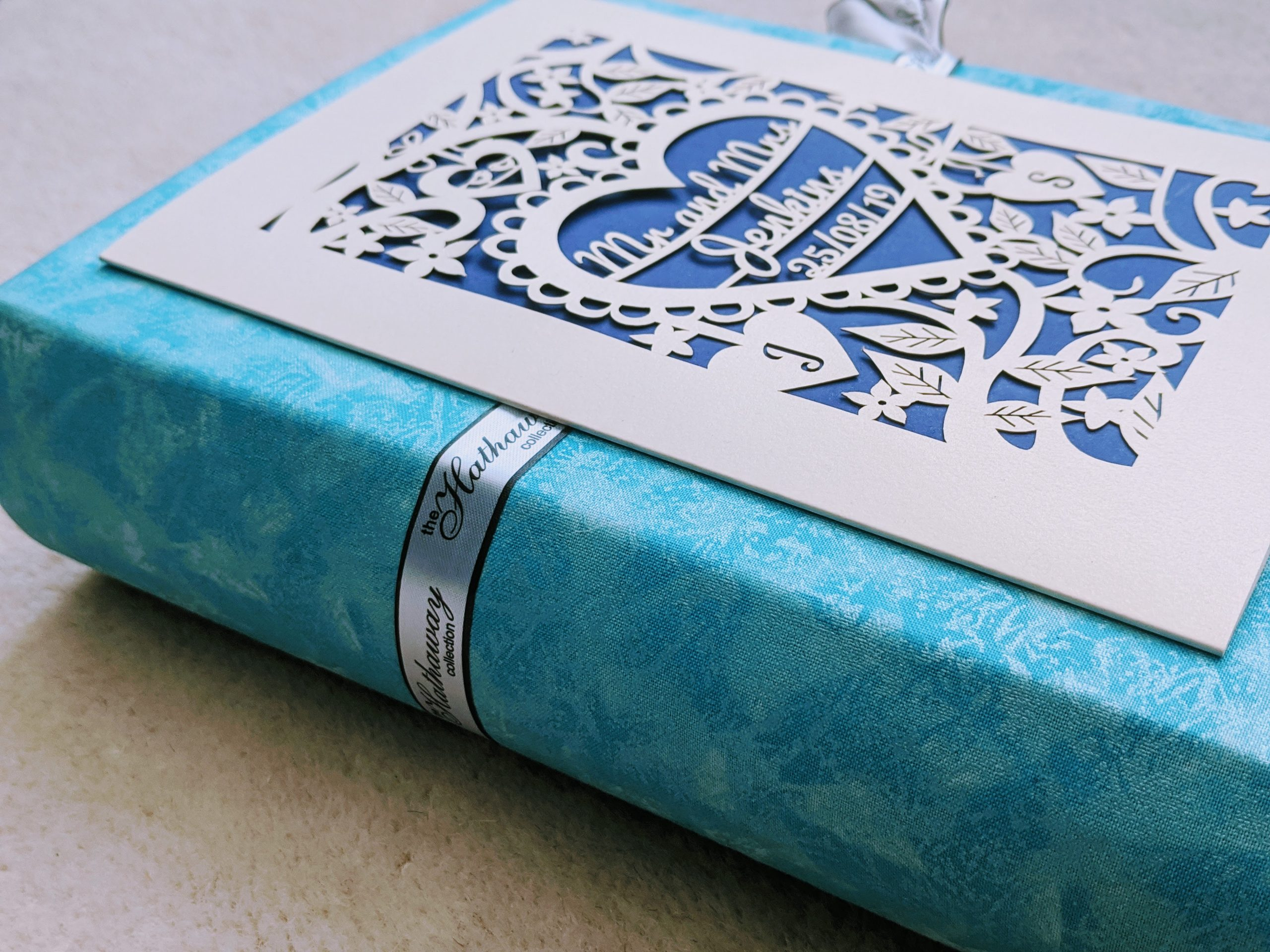 Close up of the spine of our DIY wedding card keepsake book