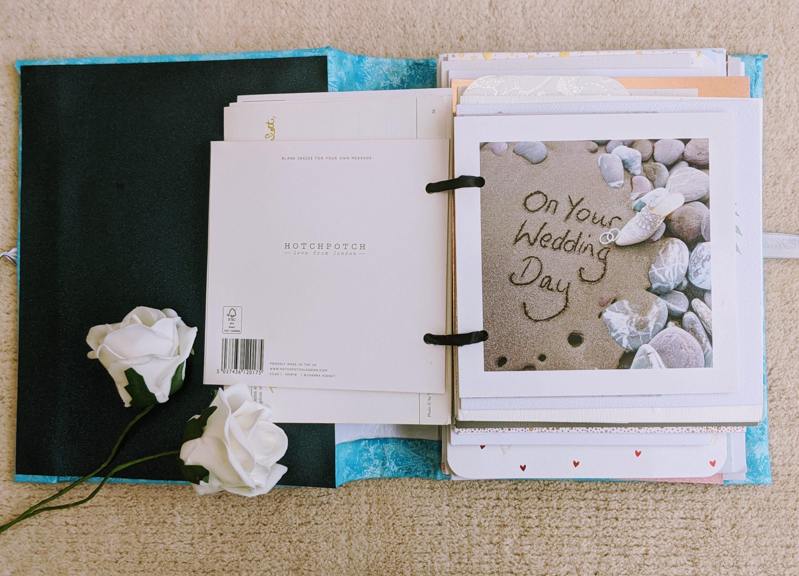 Inside the wedding card keepsake book
