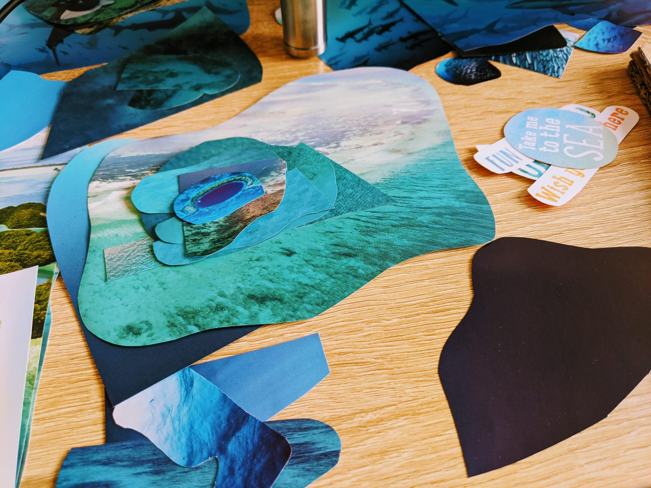 Magazine cutouts - ocean themed