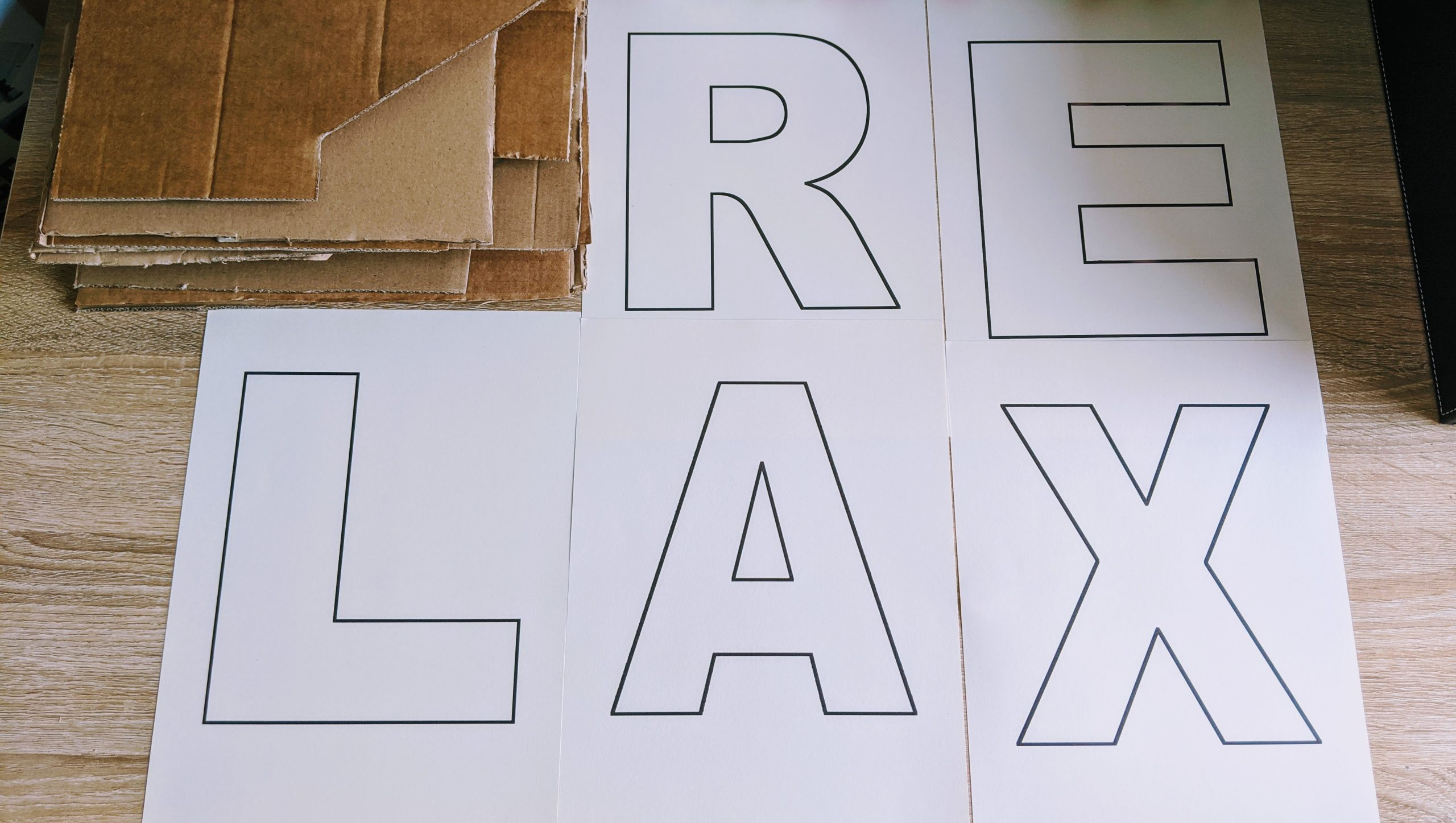 Making cardboard letters