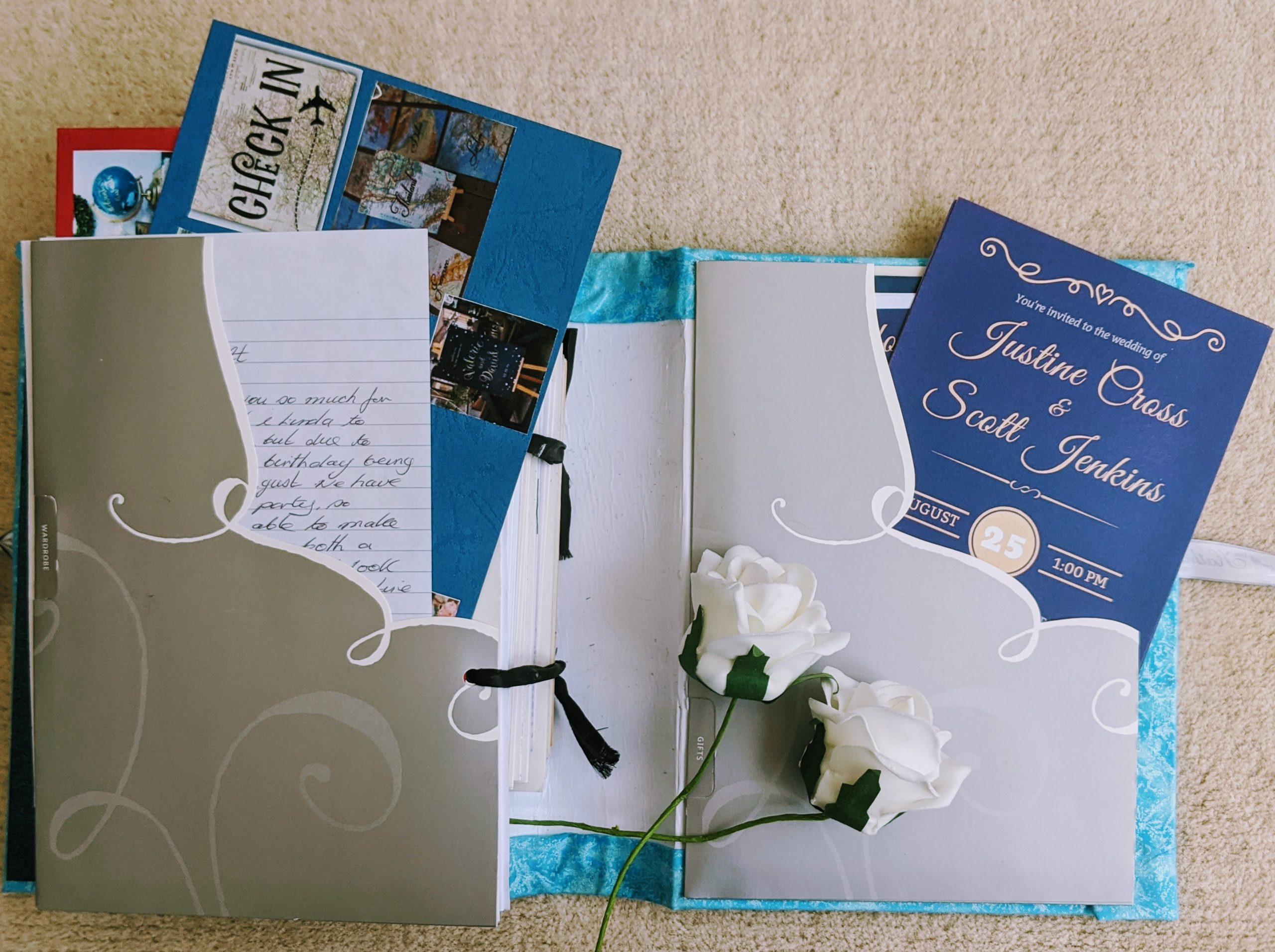 Our wedding invitations inside our wedding card keepsake