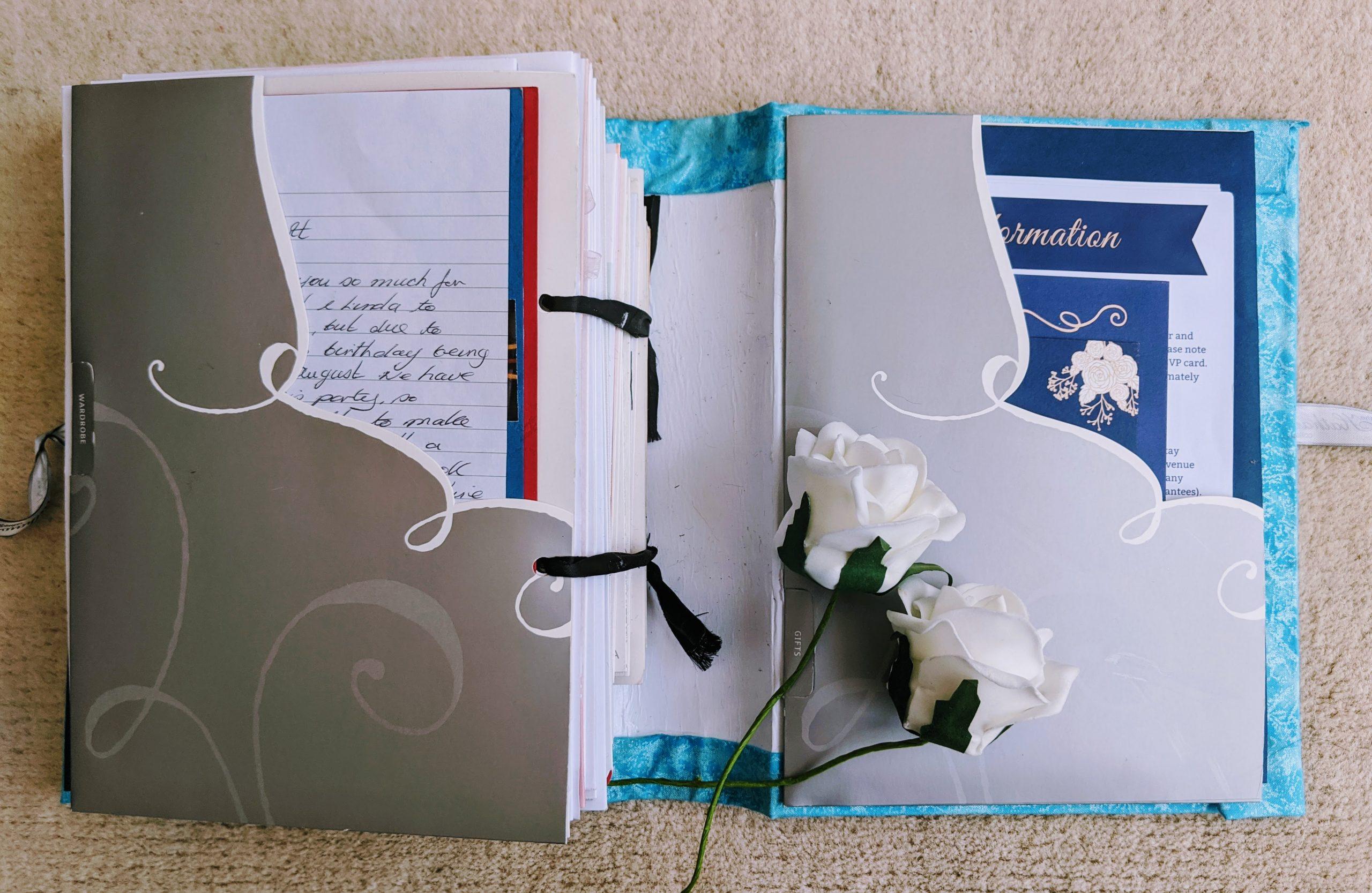 Repurposed pockets inside our wedding card keepsake book