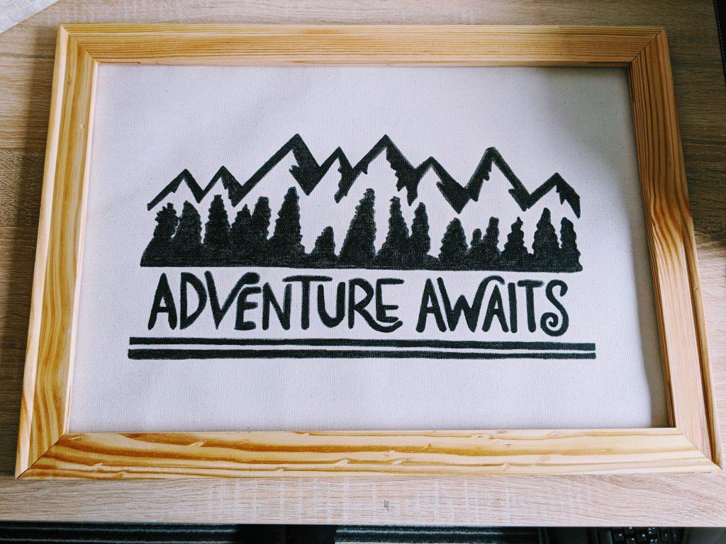 Finished Adventure Awaits canvas art