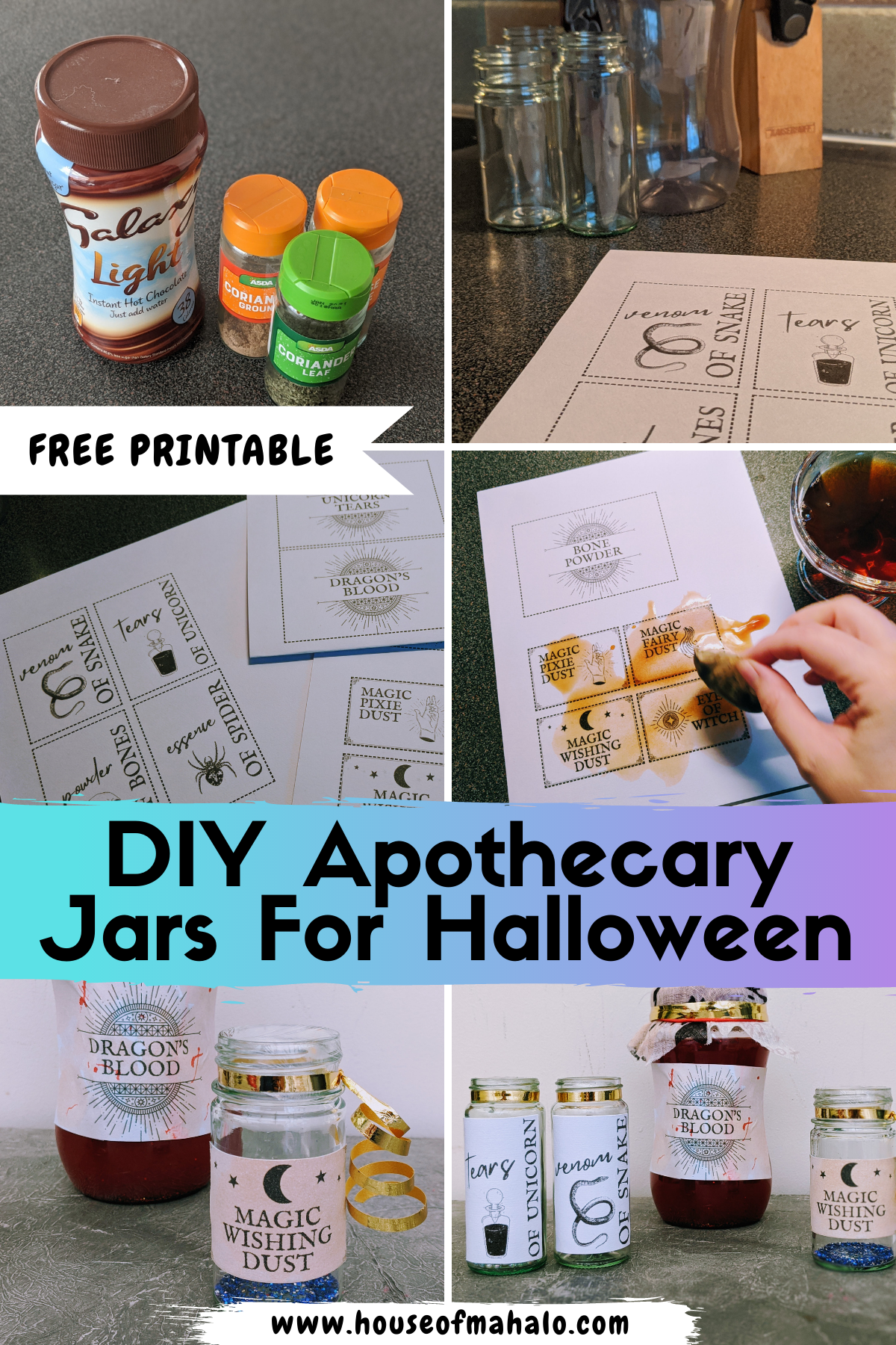 Easy DIY Apothecary Jars For Halloween   Free Printable Halloween Labels