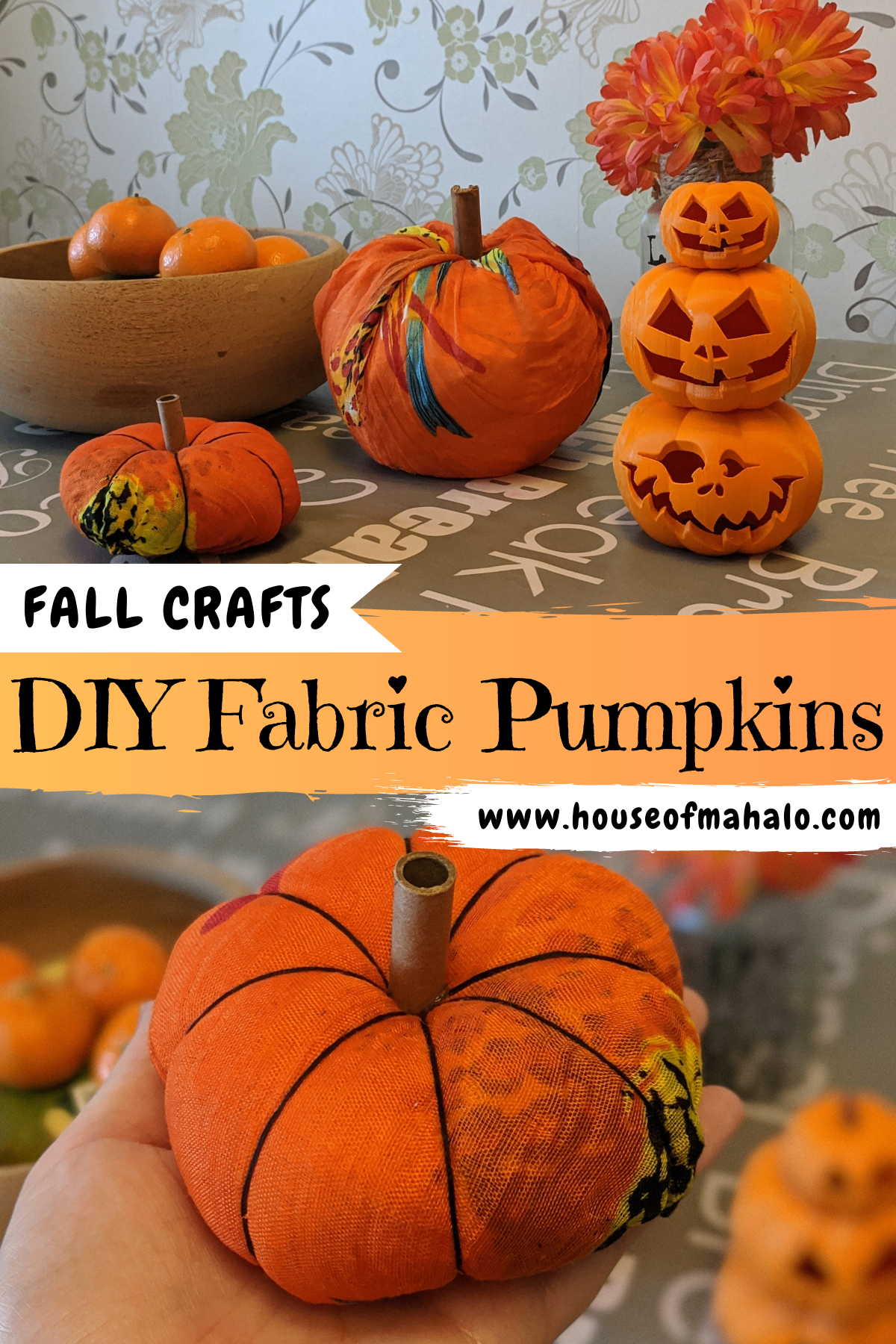 Easy DIY Fabric Pumpkins (2 Ways!)