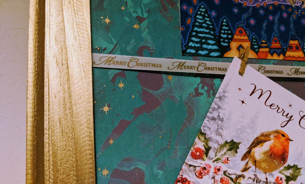 Close up of homemade Christmas card holder