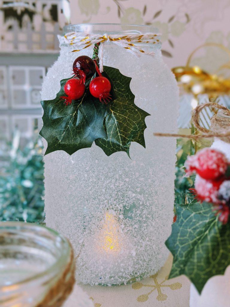 Close up of large mason jar Christmas luminary