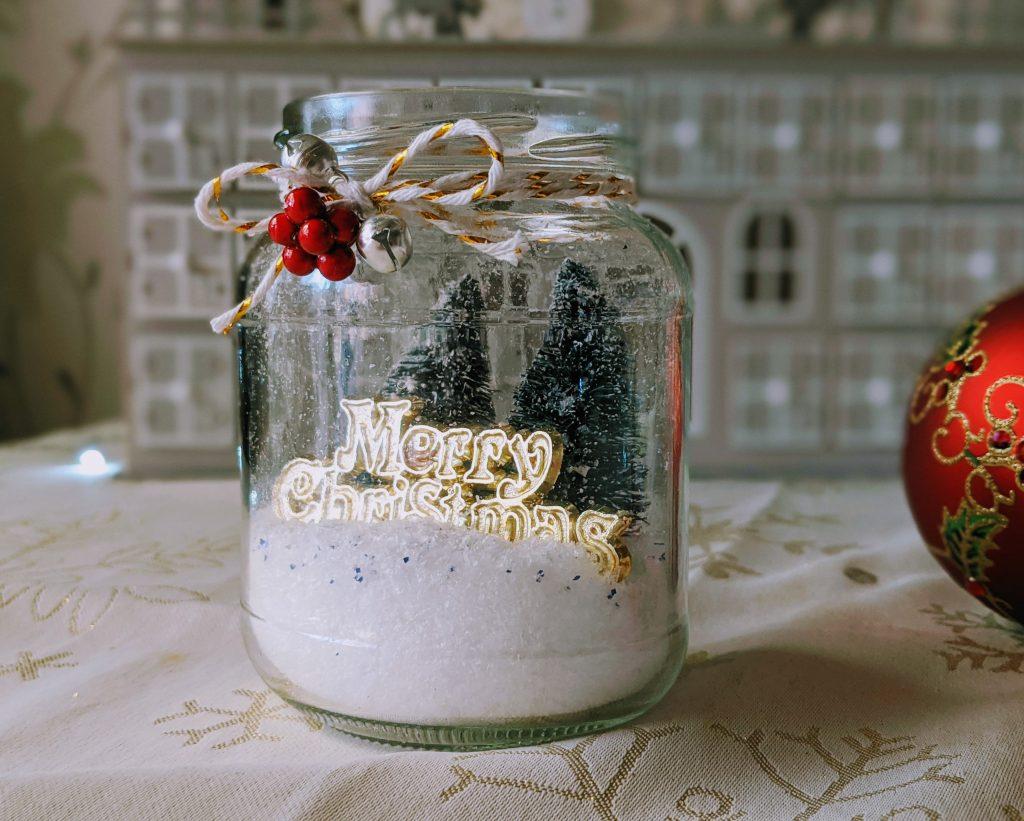 Close up of mason jar Christmas ornament
