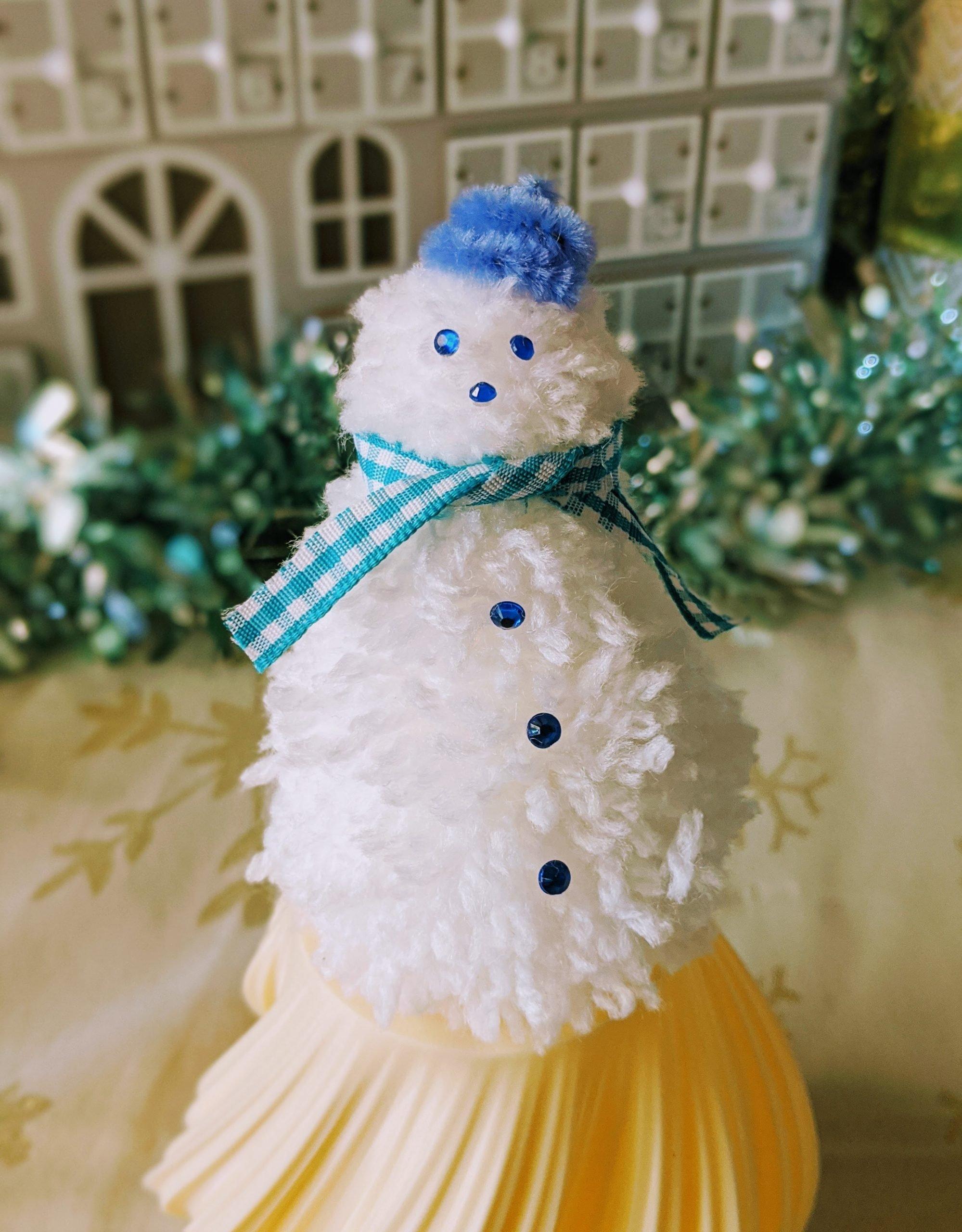 Close up of pom pom snowman
