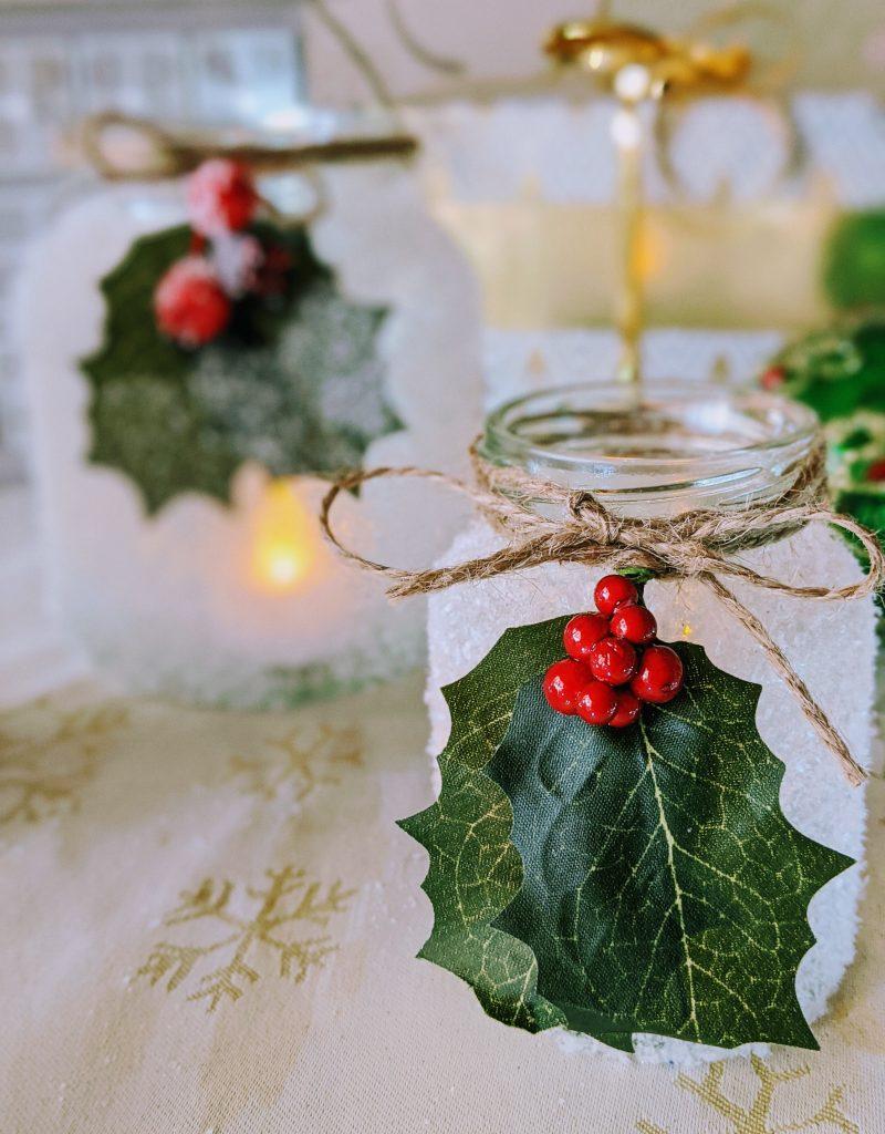 Close up of small mason jar Christmas luminary