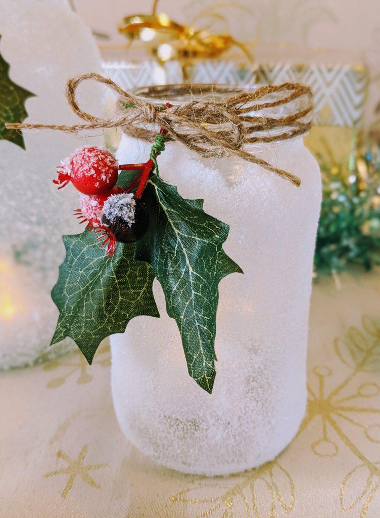 DIY Mason Jar Christmas Luminary made with sugar