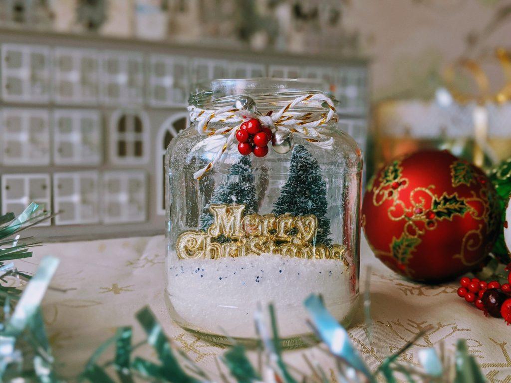 Festive mason jar ornament