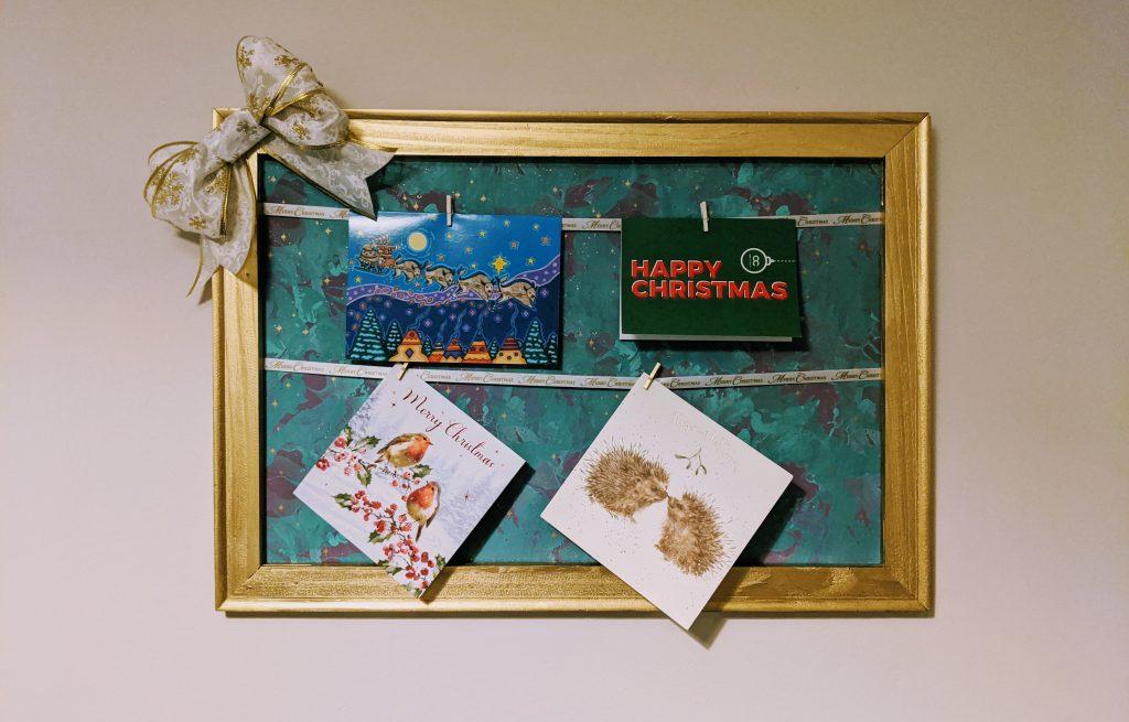 Finished DIY Christmas card holder