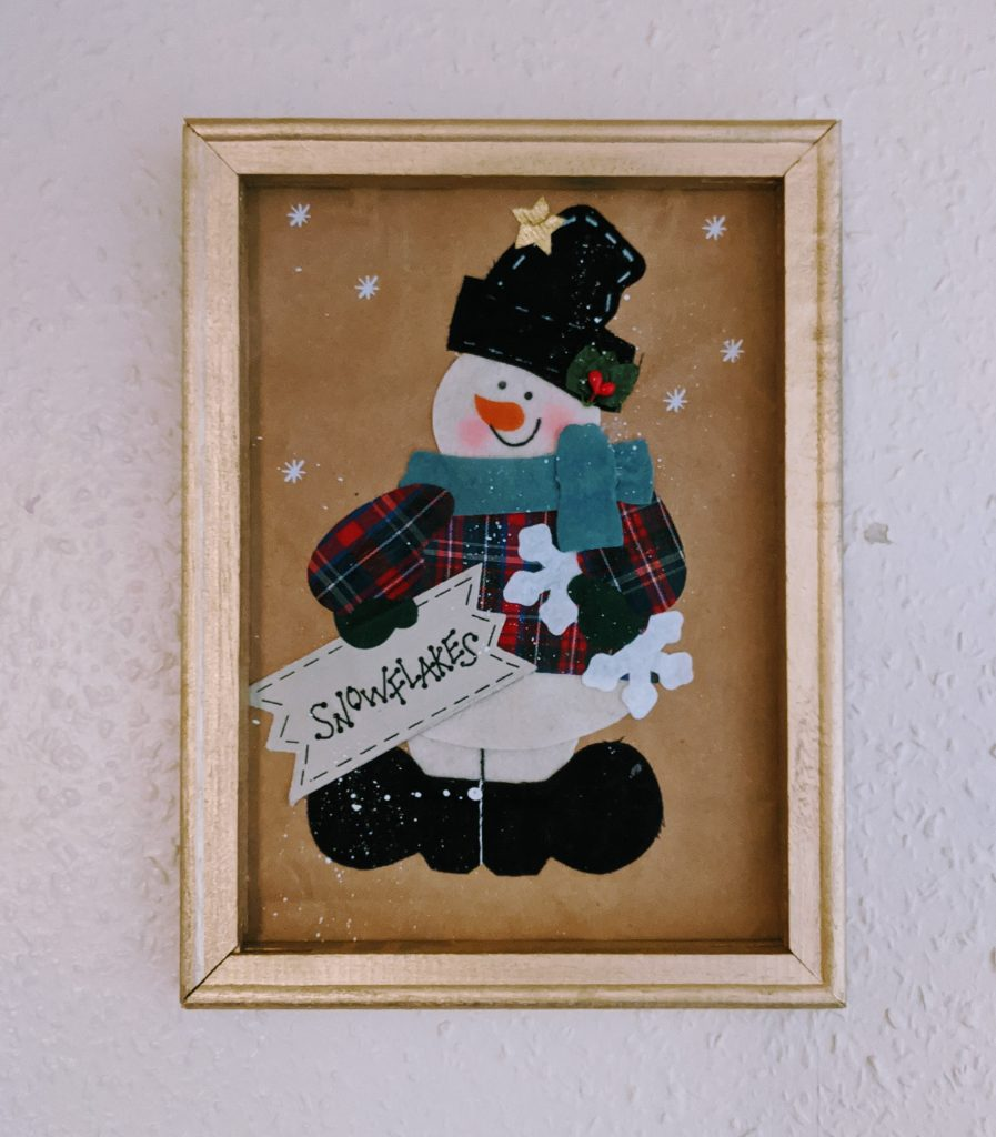 Finished snowman gift bag wall art