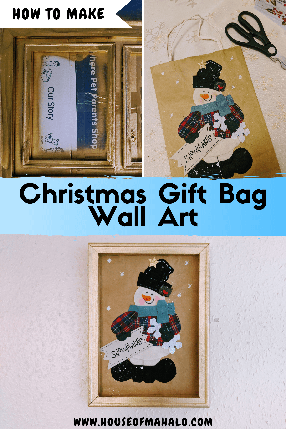 Gift Bag Wall Art | Christmas Reverse Canvas Tutorial