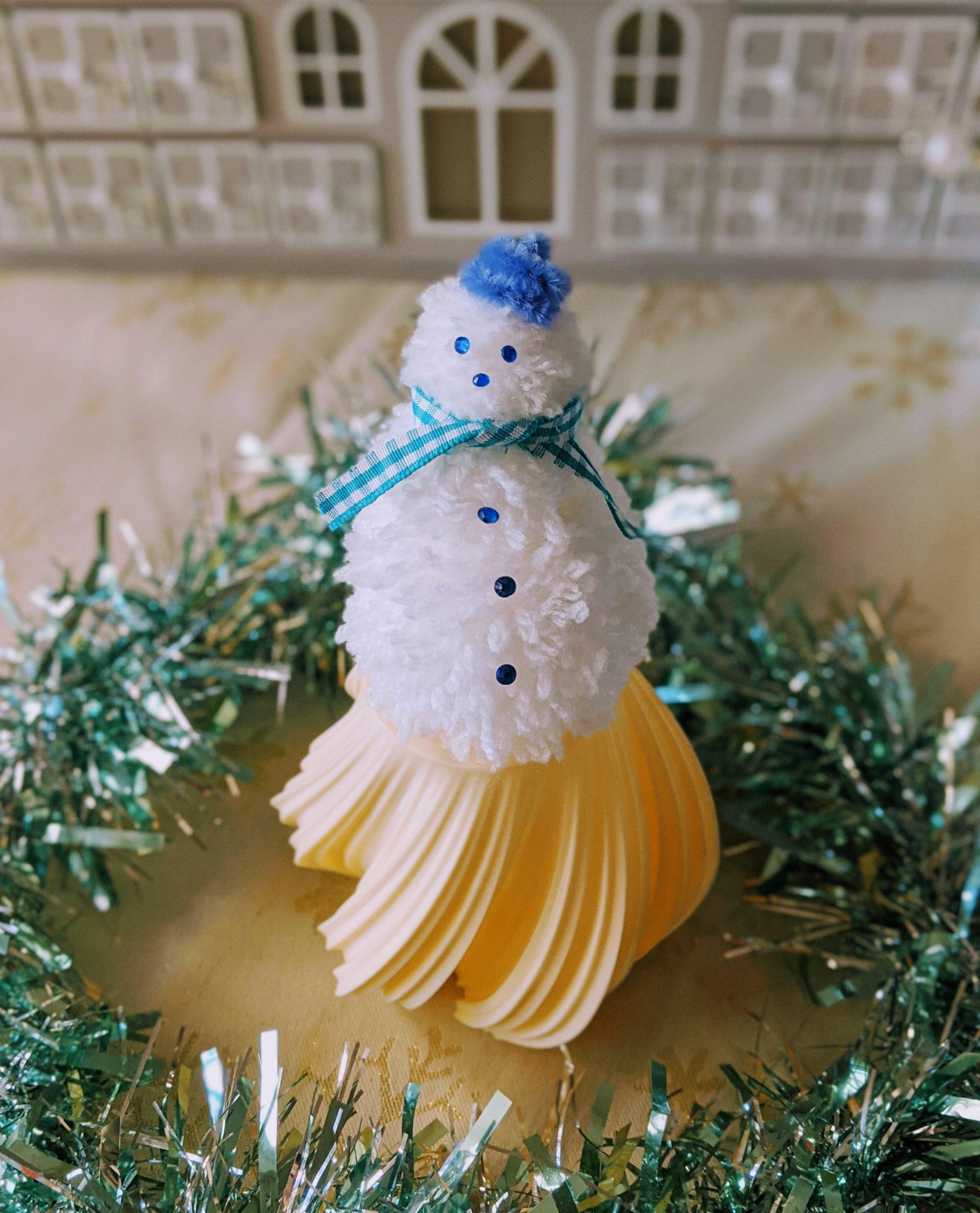 Pom Pom Snowman Christmas Ornament