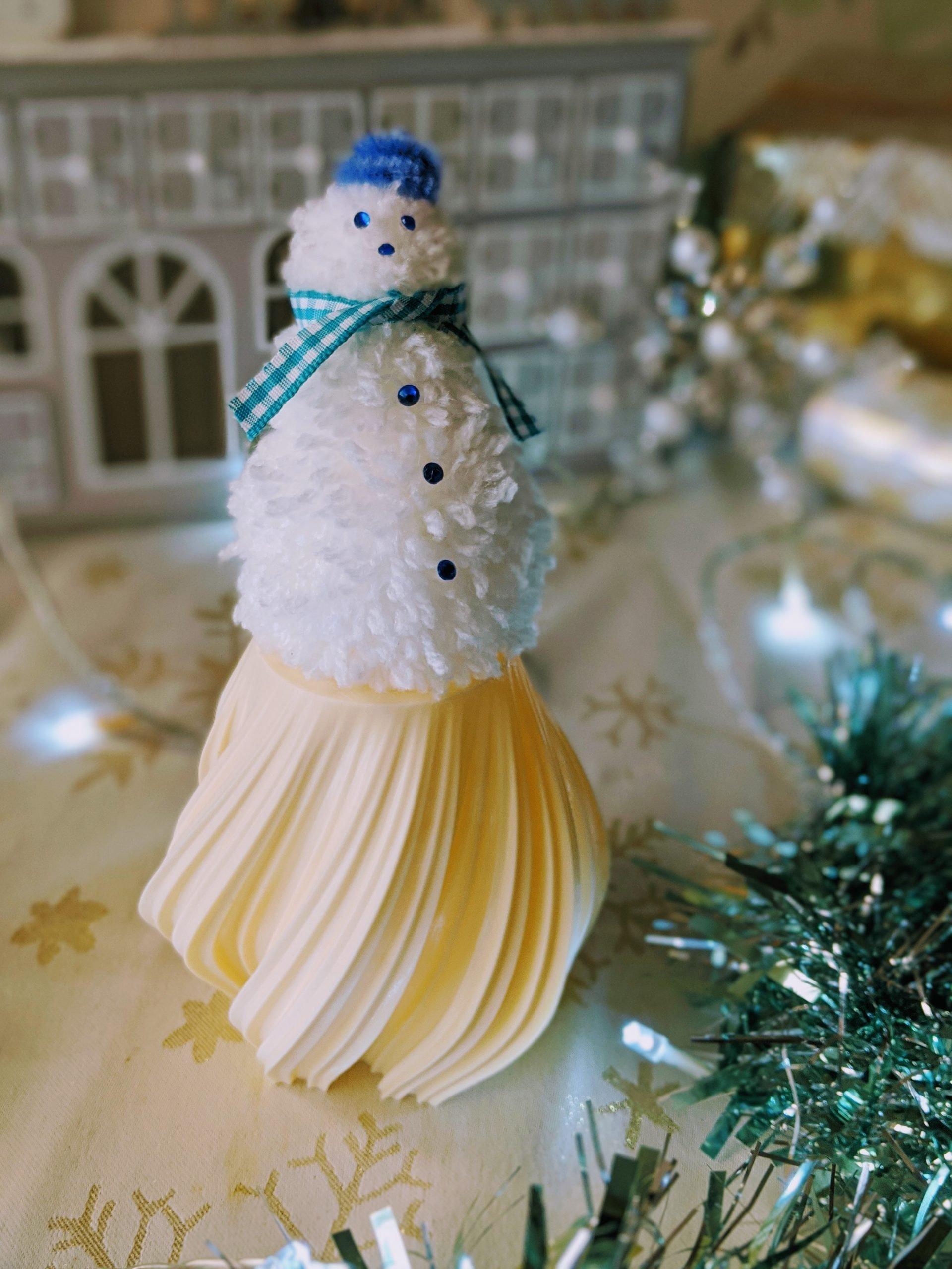 Pom Pom Snowman Ornament for Christmas