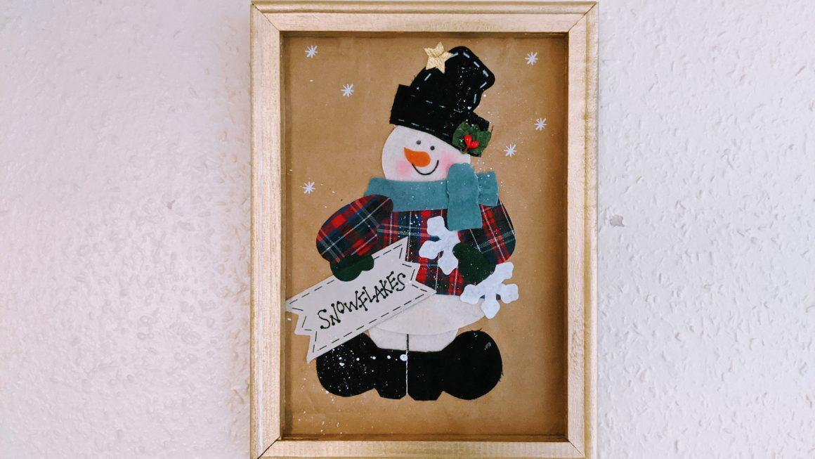 Snowman Gift Bag Wall Art - Christmas Reverse Canvas Tutorial