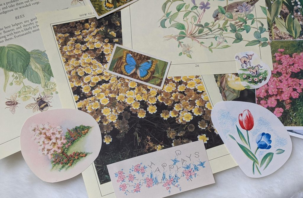 Spring themed junk journal ephemera