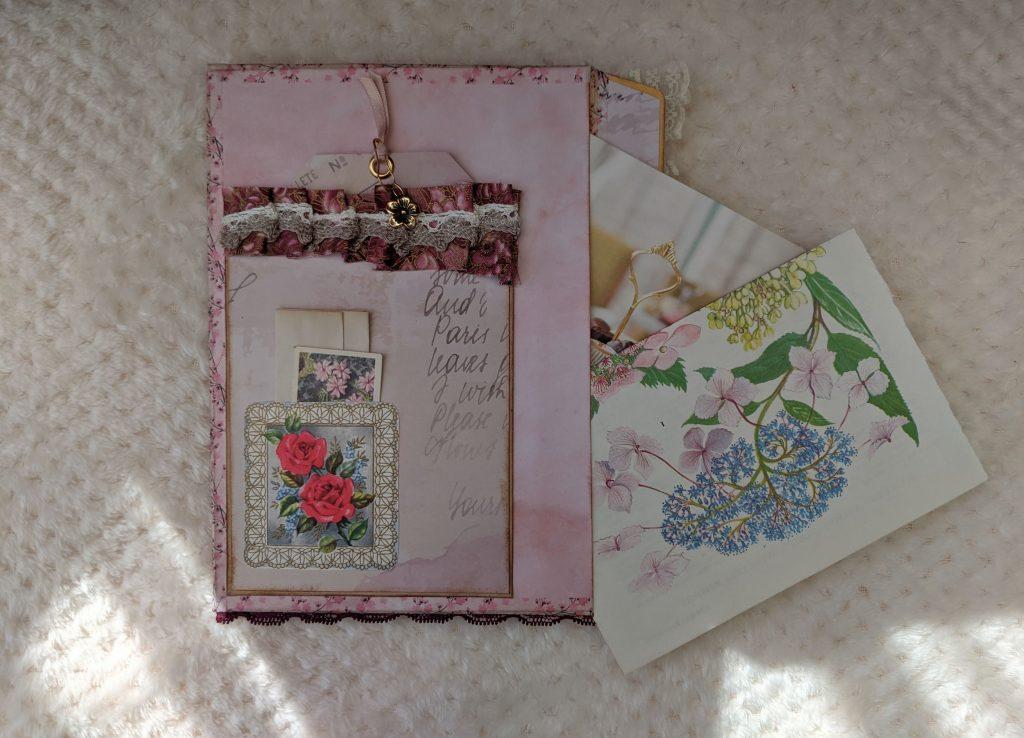 Front pocket of my pink chic junk journal ephemera folio