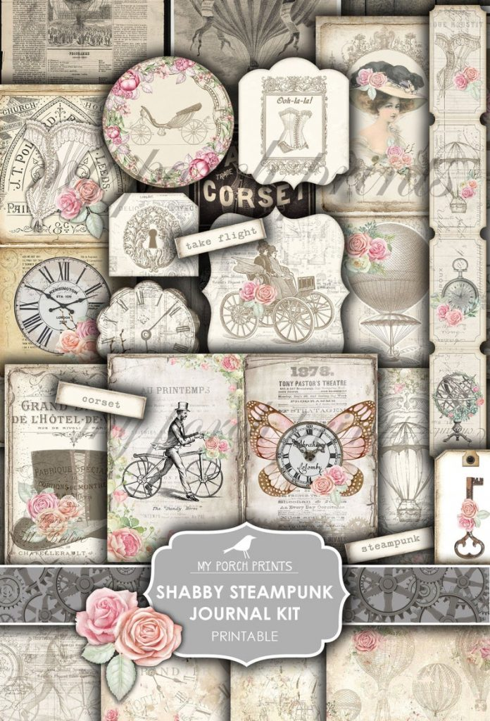 Romantic steampunk junk journal printable